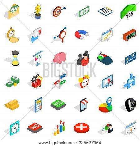 Financial Contribution Icons Set. Isometric Set Of 36 Financial Contribution Vector Icons For Web Is