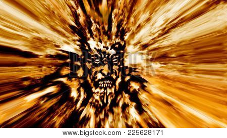 Rage golden zombie head. Image with blur effect. Illustration in genre of horror. poster