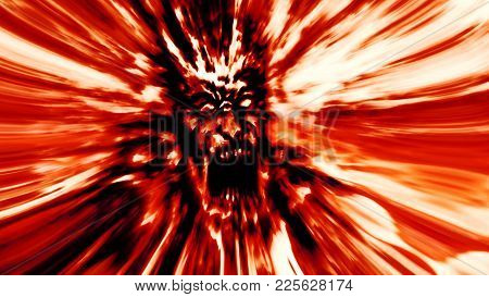 Rage red zombie head. Image with blur effect. Illustration in genre of horror. poster