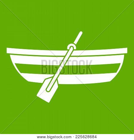 Fishing Boat Icon White Isolated On Green Background. Vector Illustration