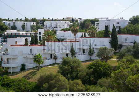 Mallorca, Spain - July 21, 2013: White Architecture Ibiza Style Typical For Cala D Or On A Sunny Aft