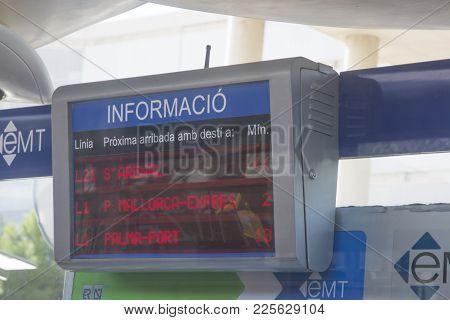 Palma, Mallorca, Spain On November 4, 2013: Modern Bus Sign Shows Time Until Departure Outside Palma