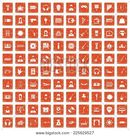 100 Music Icons Set In Grunge Style Orange Color Isolated On White Background Vector Illustration