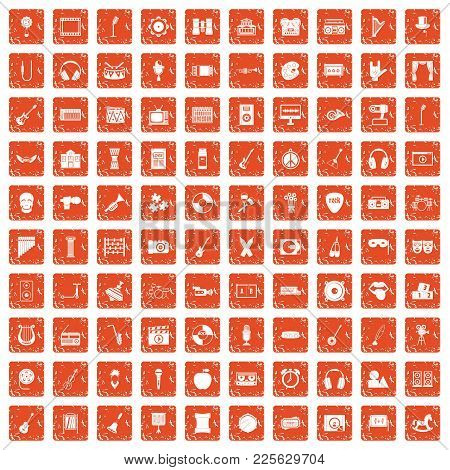 100 Musical Education Icons Set In Grunge Style Orange Color Isolated On White Background Vector Ill