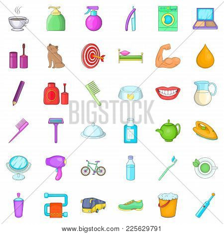 Early Morning Icons Set. Cartoon Set Of 36 Early Morning Vector Icons For Web Isolated On White Back