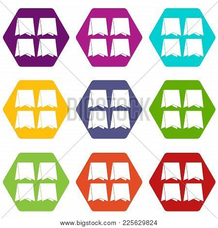 Pennants Icon Set Many Color Hexahedron Isolated On White Vector Illustration