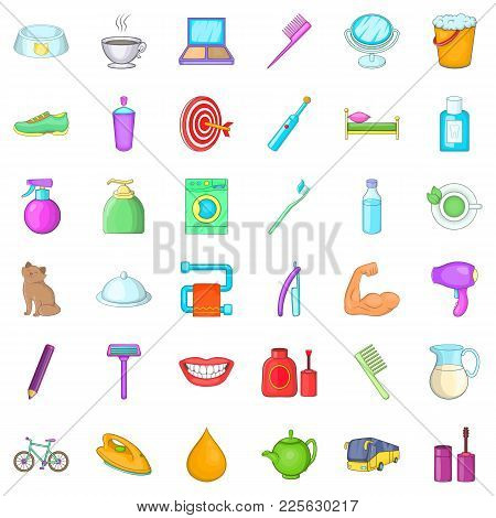 Glimmer Icons Set. Cartoon Set Of 36 Glimmer Vector Icons For Web Isolated On White Background