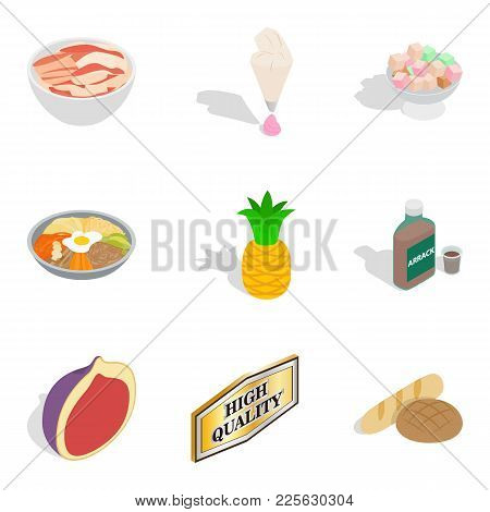 Improved Nutrition Icons Set. Isometric Set Of 9 Improved Nutrition Vector Icons For Web Isolated On