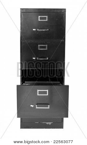 Metal filing cabinet over white background
