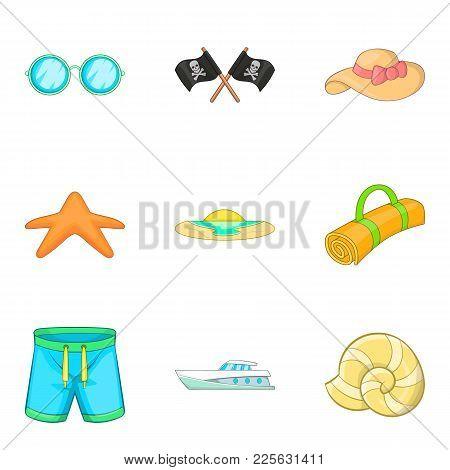 Seamanship Icons Set. Cartoon Set Of 9 Seamanship Vector Icons For Web Isolated On White Background