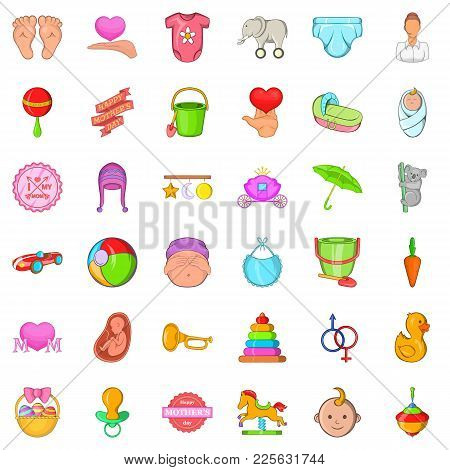 Parenting Icons Set. Cartoon Set Of 36 Parenting Vector Icons For Web Isolated On White Background