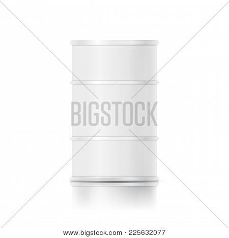 Metallic Oil Barrel Drum. White Blank Mock-up. Isolated Vector Design Template