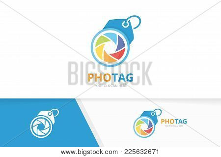 Vector Camera Shutter And Tag Logo Combination. Lens And Shop Symbol Or Icon. Unique Photo And Label