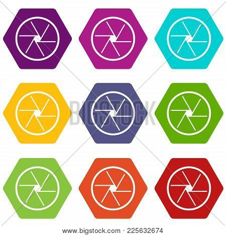 Round Objective Icon Set Many Color Hexahedron Isolated On White Vector Illustration