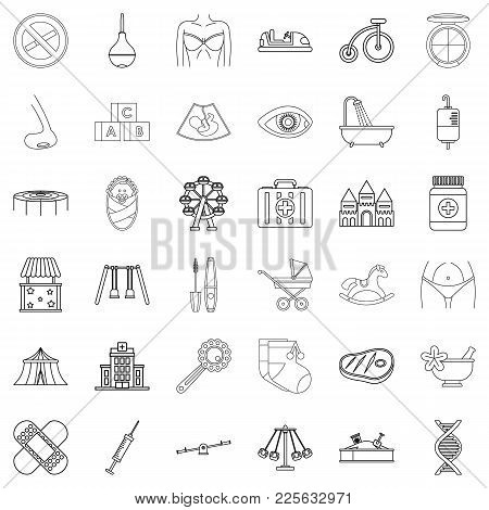 Parentage Icons Set. Outline Set Of 36 Parentage Vector Icons For Web Isolated On White Background