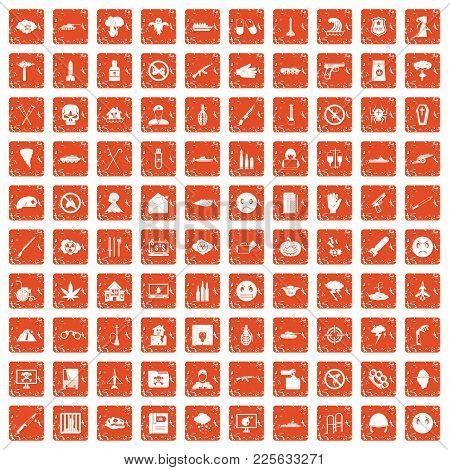 100 Oppression Icons Set In Grunge Style Orange Color Isolated On White Background Vector Illustrati