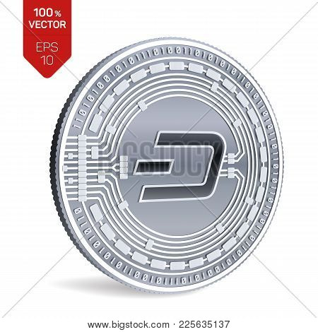 Dash. Crypto Currency. 3d Isometric Physical Coin. Digital Currency. Silver Coin With Dash Symbol Is