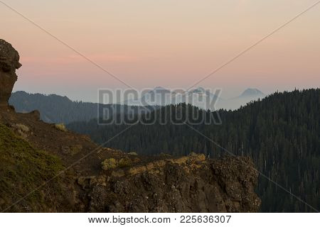 Three Sisters Mountains At Sunset During A Very Smoky Wildfire Season In Oregon. Shot From The Summi