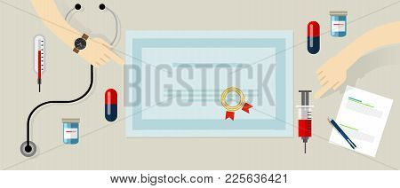 Certified Standard Medical Devices And Person Education In Health Care Hospital Seal On Paper Vector