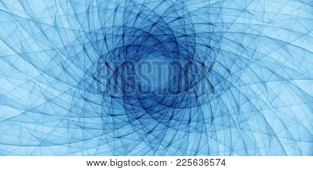 blue abstract ornament, detailed spiral drawing, art guilloche