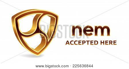 Nem Accepted Sign Emblem. Crypto Currency. 3d Isometric Golden Nem Sign With Text Accepted Here. Blo