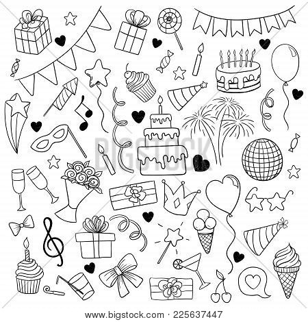 Big Set Of Hand Drawn Doodle Cartoon Objects And Symbols On The Birthday Party. Design Holiday Greet