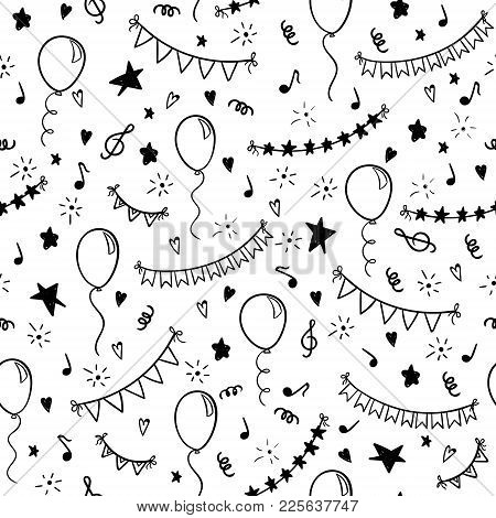 Seamless Pattern Hand Drawn Doodle Cartoon Objects And Symbols Of Birthday Party. Design Holiday Gre