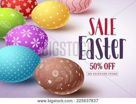 Easter Sale Vector Banner Design And Template With Colorful Eggs And Sale Text In White Background F