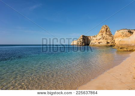 Marinha beach with beautiful turquoise water, Algarve Portugal