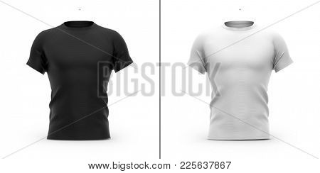 Men's t shirt with round neck and raglan sleeves. Front view. 3d rendering. Clipping paths included: whole, collar, sleeves. Isolated on white background. Shadows and highlights mock-up templates.