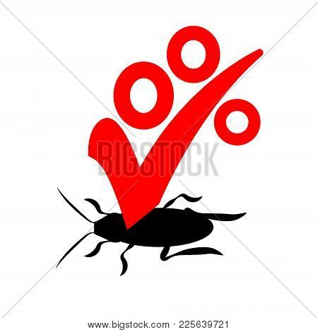 Vector Logo For The Company For The Destruction Of Insects With A Warranty. Exterminator Or Pest Con