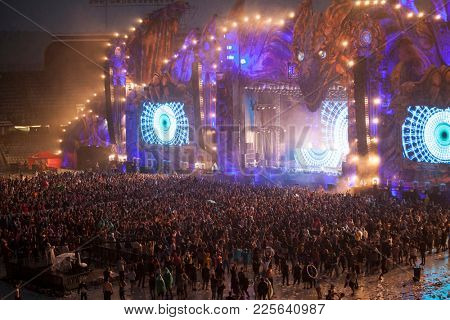 Cluj-Napoca, Romania - August 6, 2017:  Crowd of people having fun at Untold Festiva held in Romania.