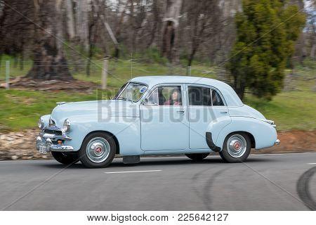 Adelaide, Australia - September 25, 2016: Vintage 1929 Nash 464 Sedan Driving On Country Roads Near
