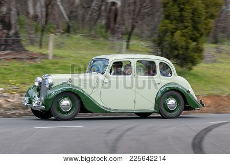 Adelaide, Australia - September 25, 2016: Vintage 1949 Mg Ya Saloon Driving On Country Roads Near Th