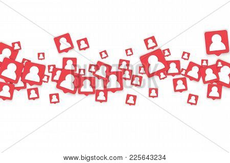Social Media Background With Man Icon Notification. Vector Marketing Blog Background With New User B