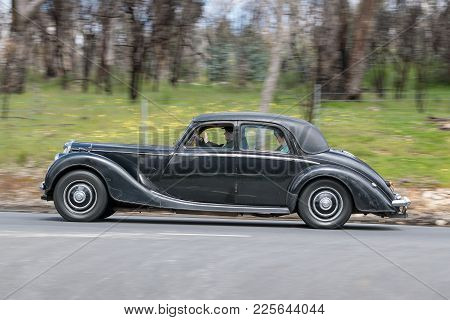 Adelaide, Australia - September 25, 2016: Vintage 1950 Riley Rmb Sedan Driving On Country Roads Near