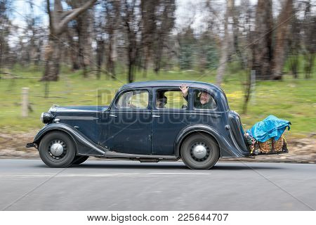 Adelaide, Australia - September 25, 2016: Vintage 1937 Vauxhall Dx Saloon Driving On Country Roads N