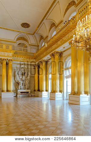 St. Petersburg, Russia - May 12, 2017: Interior of State Hermitage in St.Petersburg, Russia. State Hermitage was founded in 1764. Now it is largest in Russia and one of largest museums