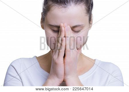 Portrait Of Sad And Depressed Woman Isolated On White Background. Girl Was Upset, Worried And Cry.