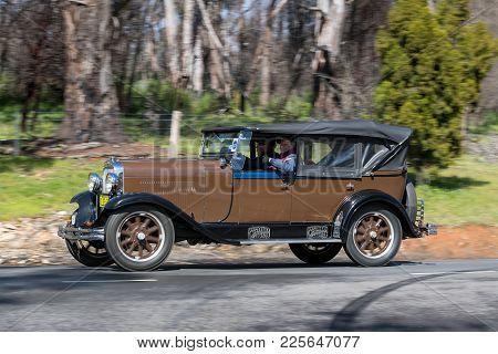 Adelaide, Australia - September 25, 2016: Vintage 1929 Oldsmobile Fr Tourer Driving On Country Roads