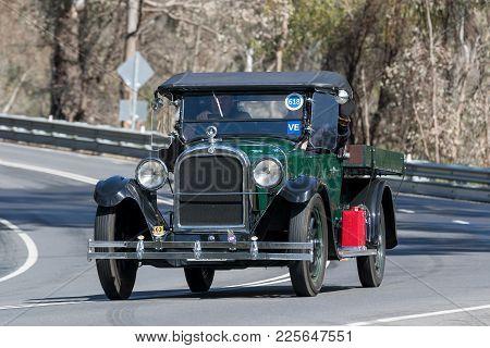 Adelaide, Australia - September 25, 2016: Vintage 1925 Dodge D Utility Driving On Country Roads Near