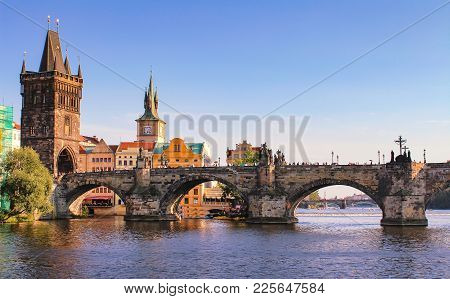 Prague Charles Bridge, Czech Republic. Scenic Landscape Of Prague City With Historical Architecture