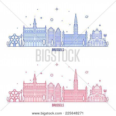 Brussels Skyline, Belgium. This Vector Illustration Represents The City With Its Most Notable Buildi