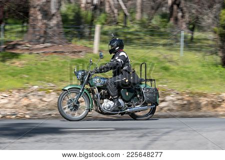 Adelaide, Australia - September 25, 2016: Vintage Bsa Motorcycle On Country Roads Near The Town Of B