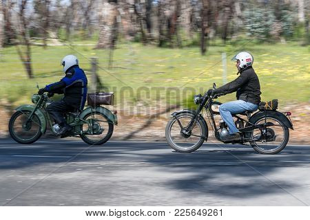 Adelaide, Australia - September 25, 2016: Vintage Motorcycles on country roads near the town of Birdwood, South Australia.