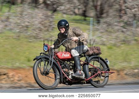 Adelaide, Australia - September 25, 2016: Vintage 1924 Indian Chief 1000cc Motorcycle on country roads near the town of Birdwood, South Australia.