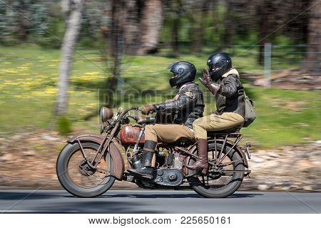 Adelaide, Australia - September 25, 2016: Vintage Motorcycle on country roads near the town of Birdwood, South Australia.