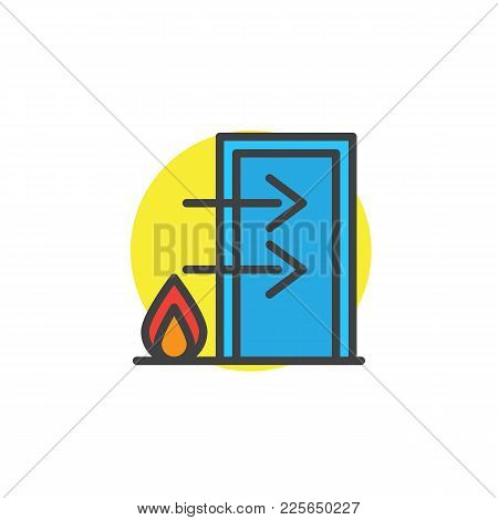 Fire Exit Filled Outline Icon, Line Vector Sign, Linear Colorful Pictogram Isolated On White. Emerge