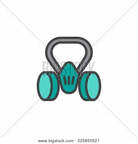Gas Mask Filled Outline Icon, Line Vector Sign, Linear Colorful Pictogram Isolated On White. Fire Re