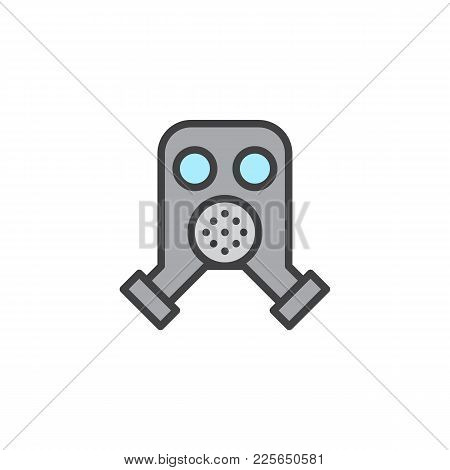 Firefighter Mask Filled Outline Icon, Line Vector Sign, Linear Colorful Pictogram Isolated On White.